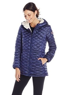 Steve Madden Women's Quilted Anorak with Hood, Indigo, Large