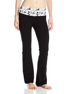 Steve Madden Women's Wide Leg Yoga Pant with Abstract Print Waist Band