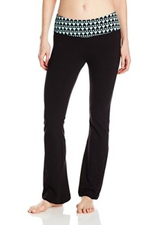 Steve Madden Women's Wide Leg Yoga Pant with Geometric Print Waist Band