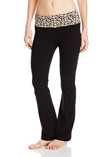 Steve Madden Women's Wide Leg Yoga Pant with Print Waist Band