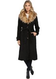 Steve Madden Wool Blend Maxi Coat w/ Faux Fur Collar