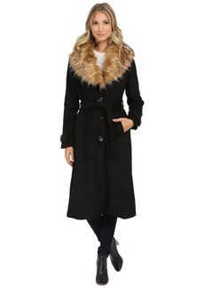 Steve Madden Wool Blend Maxi Coat w/ Faux Fur Collar