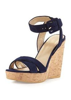 Stuart Weitzman Annex Suede Wedge Sandal, Nice Blue