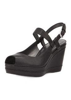 Stuart Weitzman Bridge Leather Wedge Sandal, Black