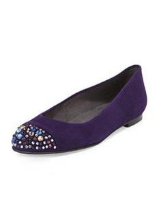Bubbly Crystal-Toe Suede Flat, Hyacinth   Bubbly Crystal-Toe Suede Flat, Hyacinth