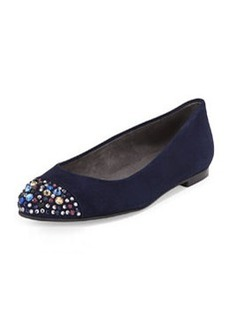 Bubbly Crystal-Toe Suede Flat, Nice Blue   Bubbly Crystal-Toe Suede Flat, Nice Blue
