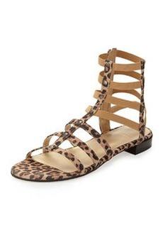Caesar Suede Gladiator Sandal, Tan Leopard   Caesar Suede Gladiator Sandal, Tan Leopard