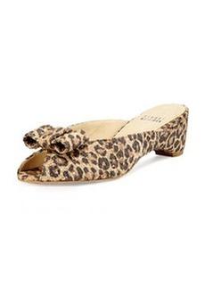 Stuart Weitzman Candy Leopard-Print Woven Bow Slide Sandal