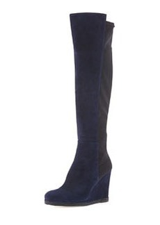 Demiswoon Suede/Stretch Wedge Boot, Nice Blue/Black   Demiswoon Suede/Stretch Wedge Boot, Nice Blue/Black