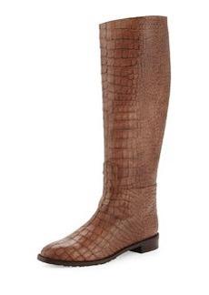 Equine Croc-Embossed Knee Boot, Espresso   Equine Croc-Embossed Knee Boot, Espresso
