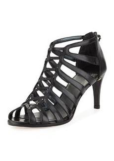 Stuart Weitzman Exes Strappy Leather Mid-Heel Sandal, Black