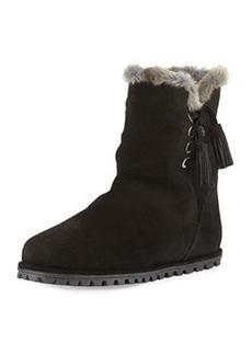 Fargo Faux-Fur-Lined Bootie, Black   Fargo Faux-Fur-Lined Bootie, Black