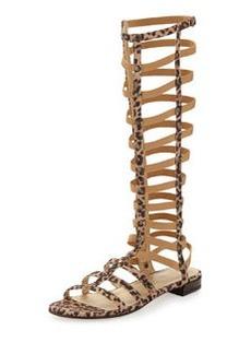 Gladiator Tall Suede Sandal, Tan Leopard   Gladiator Tall Suede Sandal, Tan Leopard