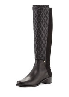 Guard Quilted Leather Knee Boot, Black   Guard Quilted Leather Knee Boot, Black