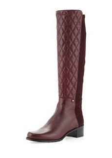 Guard Quilted Leather Knee Boot, Bordeaux   Guard Quilted Leather Knee Boot, Bordeaux