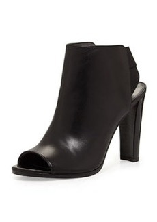 Stuart Weitzman Hereitis Peep-Toe Leather Bootie, Black