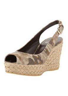 Jean Linen Jute Wedge, Tan Camo   Jean Linen Jute Wedge, Tan Camo