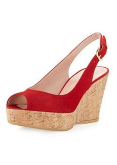 Jean Suede Cork Wedge, Red   Jean Suede Cork Wedge, Red