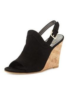 Stuart Weitzman Liner Up-Front Slingback Wedge Sandal, Black