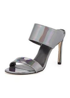 Stuart Weitzman MySlide Metallic Specchio Sandal, Pewter