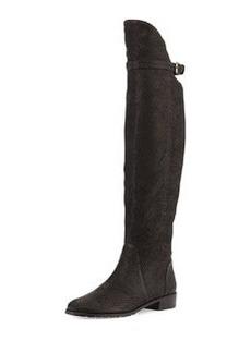 Needaride Snake-Print Over-the-Knee Boot, Black   Needaride Snake-Print Over-the-Knee Boot, Black