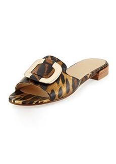 Stuart Weitzman Odeon Ornament Slide Sandal, Jaguar