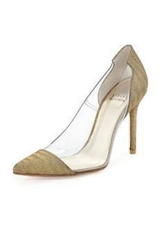 Onview PVC/Shimmer Fabric Pointed-Toe Pump, Old Gold   Onview PVC/Shimmer Fabric Pointed-Toe Pump, Old Gold