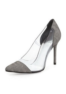 Onview PVC/Shimmer Fabric Pointed-Toe Pump, Steel   Onview PVC/Shimmer Fabric Pointed-Toe Pump, Steel