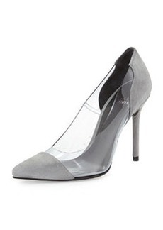 Onview PVC/Suede Pointed-Toe Pump, Mist   Onview PVC/Suede Pointed-Toe Pump, Mist