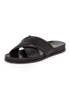 Stuart Weitzman Spa Leather Crisscross Sandal, Black