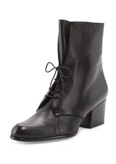 Stepin Leather Lace-Up Bootie, Black   Stepin Leather Lace-Up Bootie, Black