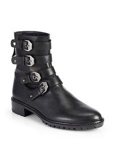 Stuart Weitzman Jitterbug Buckled Leather Mid-Calf Boots