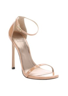Stuart Weitzman nude patent leather 'Nudist Aniline' ankle strap sandals