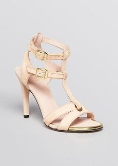 Stuart Weitzman Open Toe Sandals - Accent T Strap High Heel