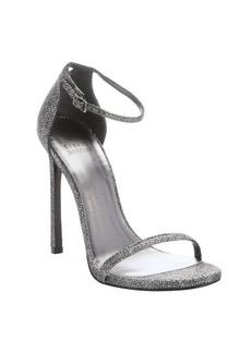 Stuart Weitzman pewter glitter lamé 'Nudist' stiletto sandals