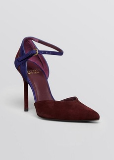 Stuart Weitzman Pointed Toe D'Orsay Ankle Strap Pumps - Xfactor High Heel