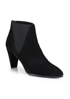 Stuart Weitzman Scooped Stretchy Suede Ankle Boots