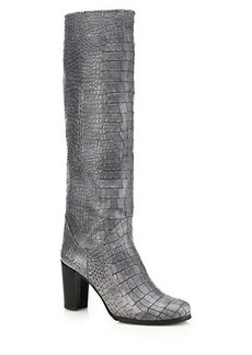Stuart Weitzman Touche Croc-Embossed Knee-High Leather Boots