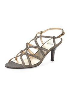 Turningup Strappy Glitter Sandal, Pyrite   Turningup Strappy Glitter Sandal, Pyrite