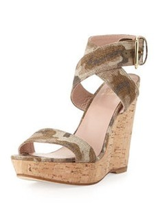Xray Linen Cork Wedge, Tan Camo   Xray Linen Cork Wedge, Tan Camo