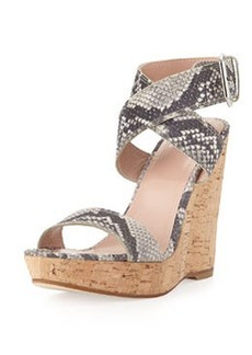 Xray Snake-Print Cork Wedge, Natural   Xray Snake-Print Cork Wedge, Natural