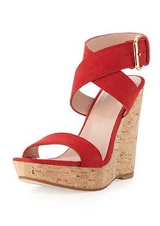 Xray Suede Cork Wedge, Red   Xray Suede Cork Wedge, Red