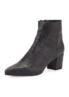 Zepher Croc-Embossed Ankle Boot, Nero   Zepher Croc-Embossed Ankle Boot, Nero