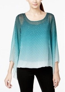 Alfani Petite Printed Ombre Angel-Sleeve Blouson Top, Only at Macy's