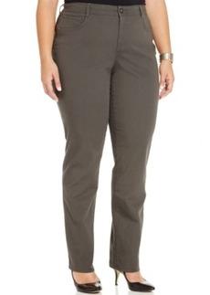 Plus Size Tummy-Control Straight-Leg Jeans, Graphite Grey Wash
