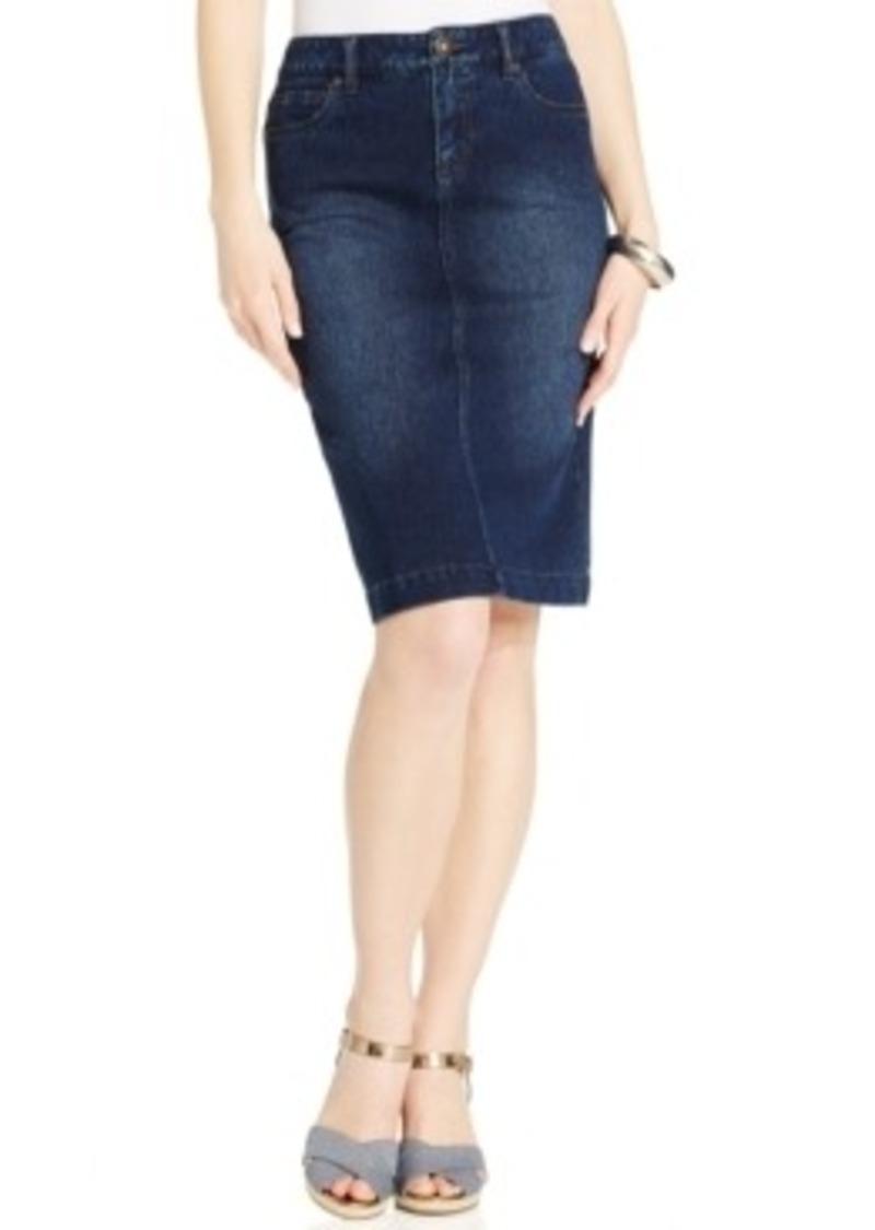 style co style co knit denim skirt blue wash