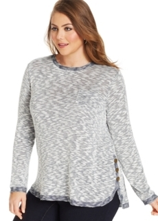 Style & co. Plus Size Button-Trim High-Low Top