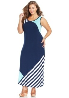 Style & co. Plus Size Colorblocked Maxi Tank Dress