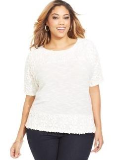 Style & co. Plus Size Crochet-Trim Top