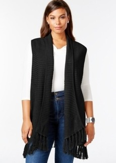 Style & co. Plus Size Draped Fringe Sweater Vest, Only at Macy's